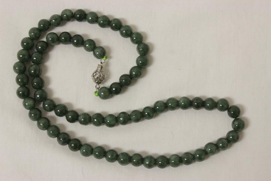 2 jadeite like bead necklaces - 7