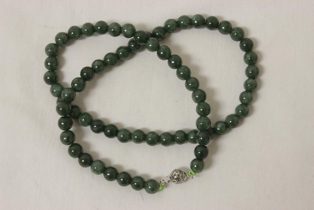 2 jadeite like bead necklaces - 8