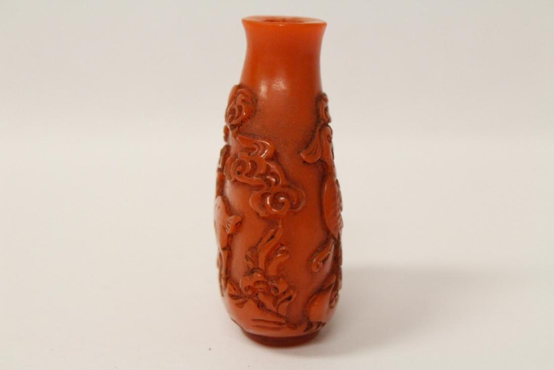 A beautiful coral like Peking glass snuff bottle - 8