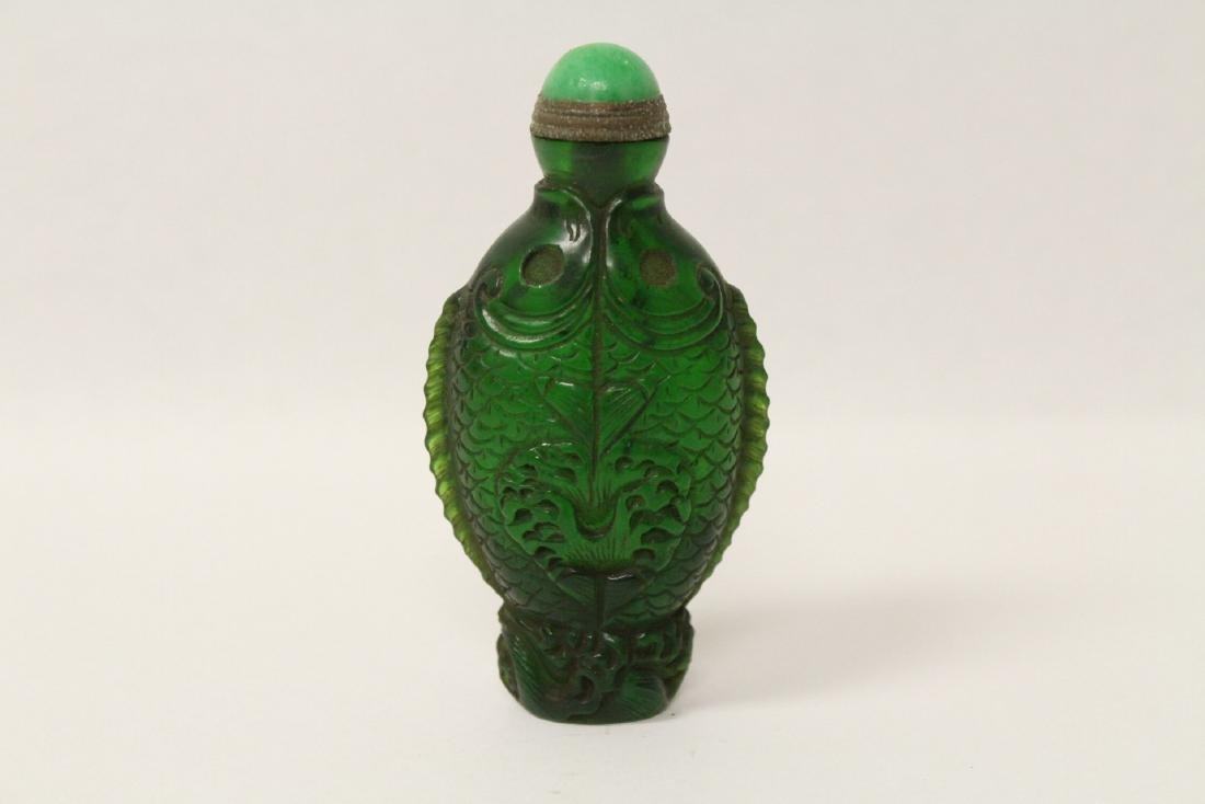 A Peking glass snuff bottle with double fish motif