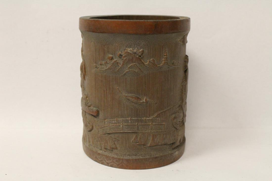 A well carved bamboo brush holder - 2