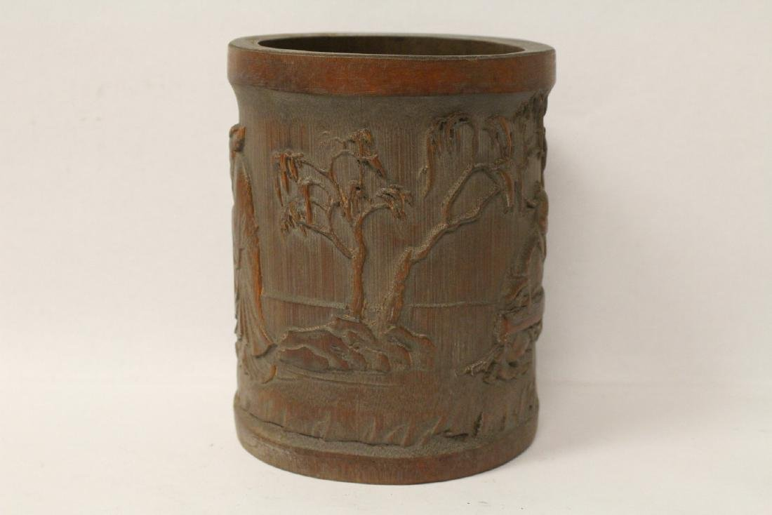 A well carved bamboo brush holder - 4