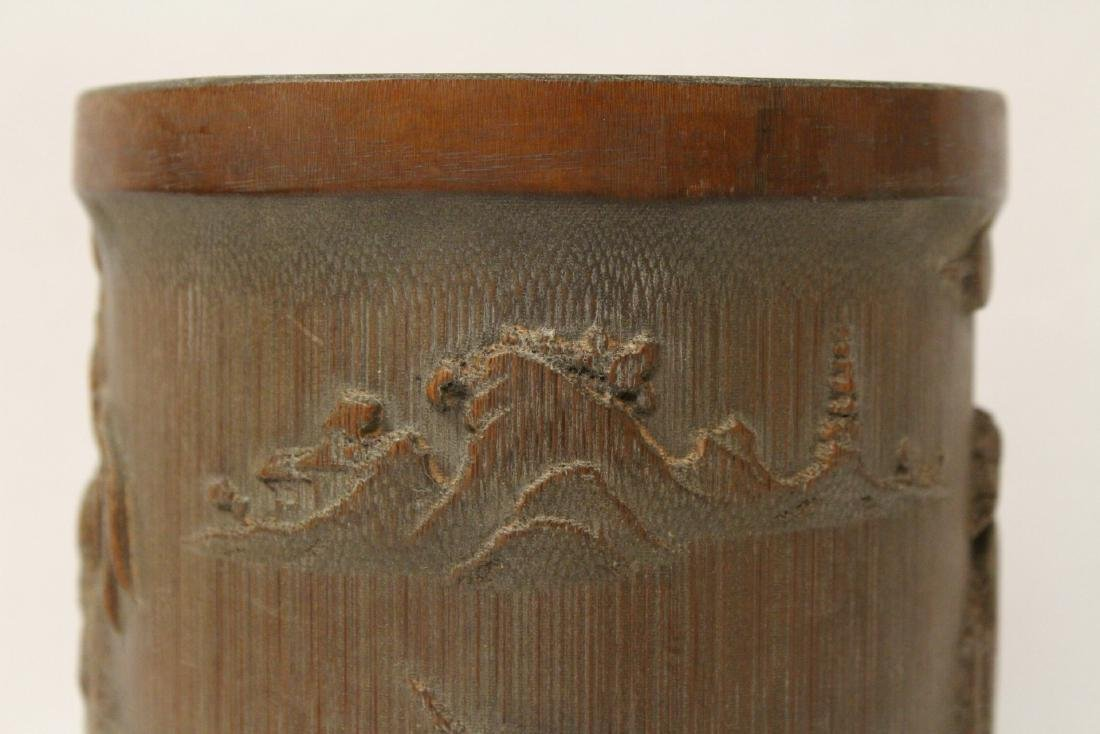 A well carved bamboo brush holder - 6