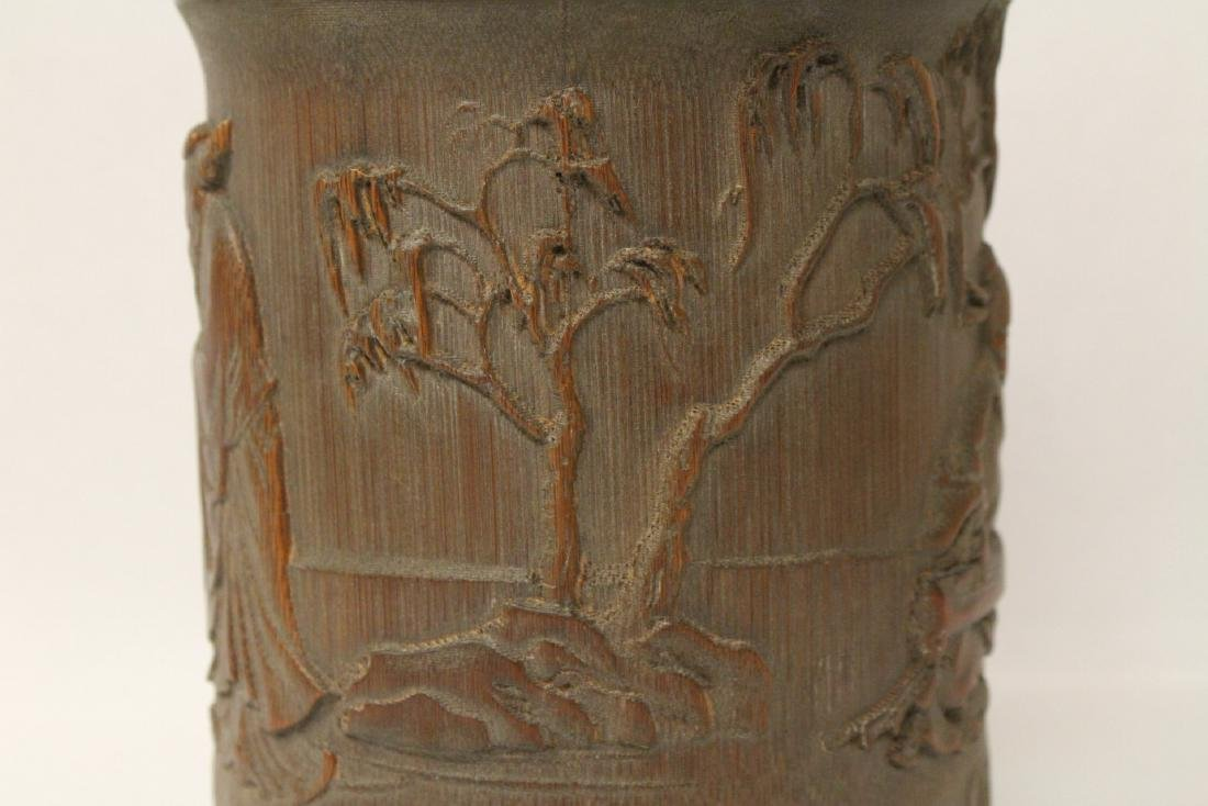 A well carved bamboo brush holder - 8