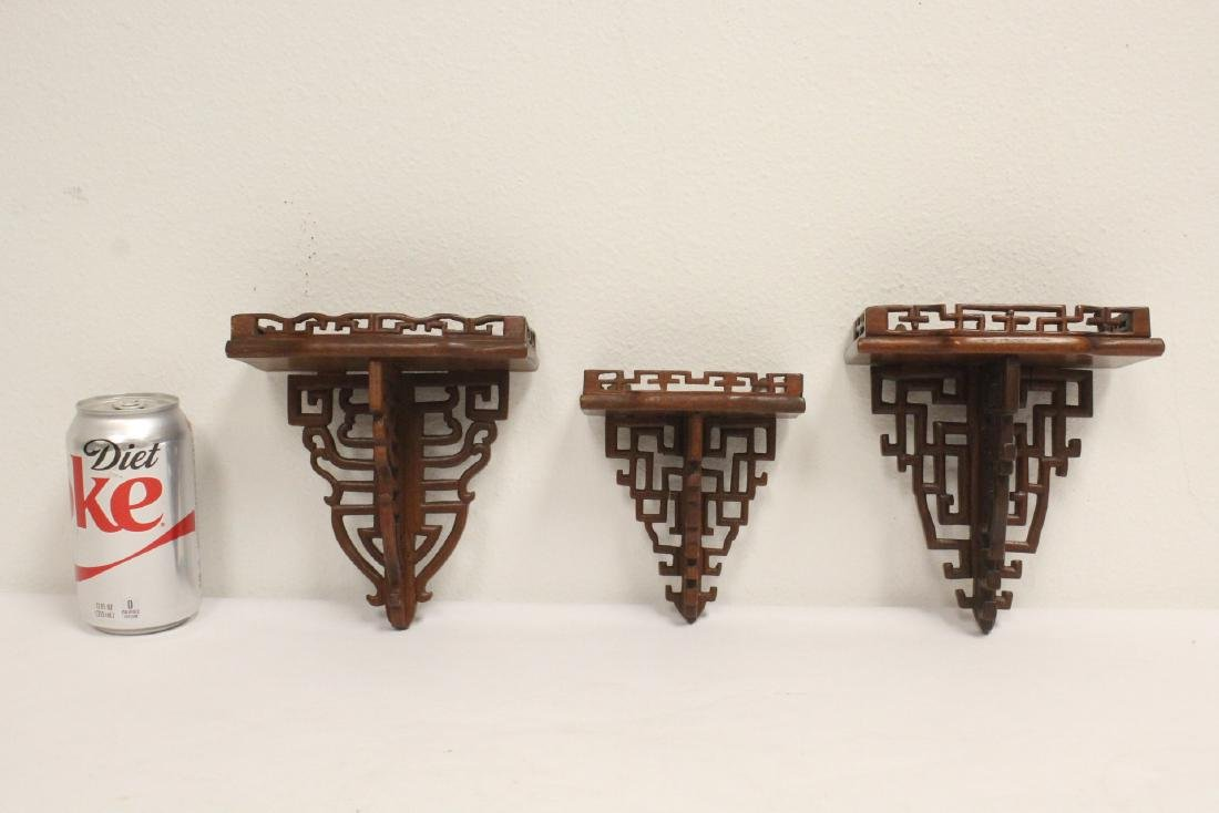 3 Chinese rosewood miniature wall shelves