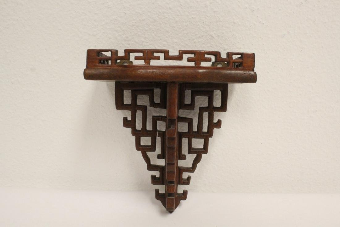 3 Chinese rosewood miniature wall shelves - 6