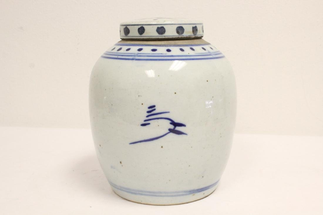 2 Chinese antique blue and white porcelain jars - 10