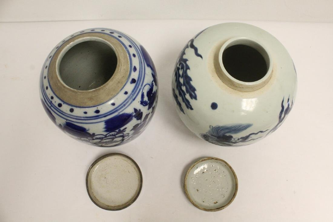 2 Chinese antique blue and white porcelain jars - 5