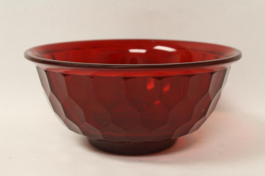 Chinese red Peking glass bowl