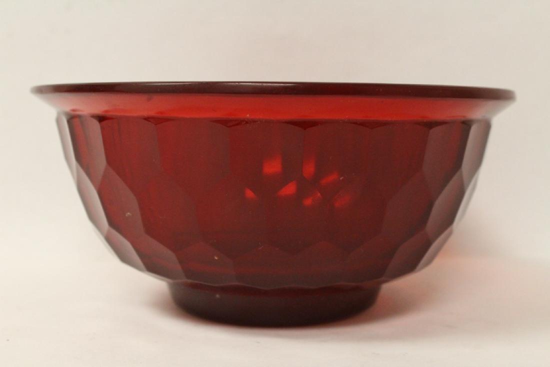 Chinese red Peking glass bowl - 2