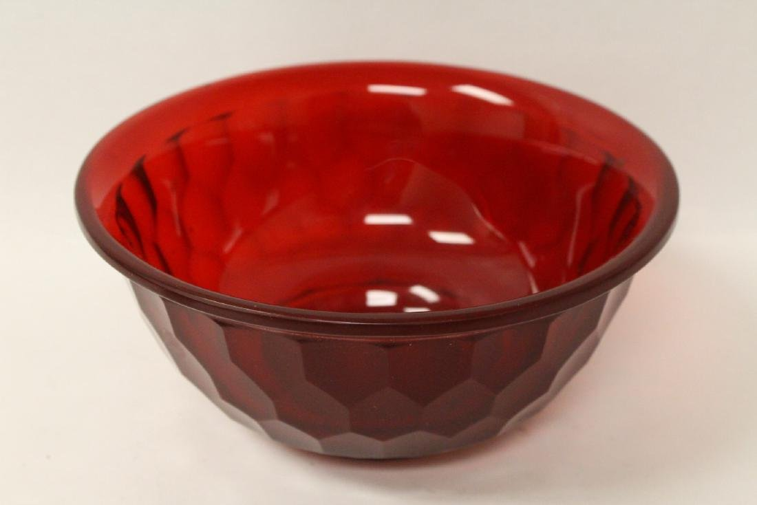 Chinese red Peking glass bowl - 3