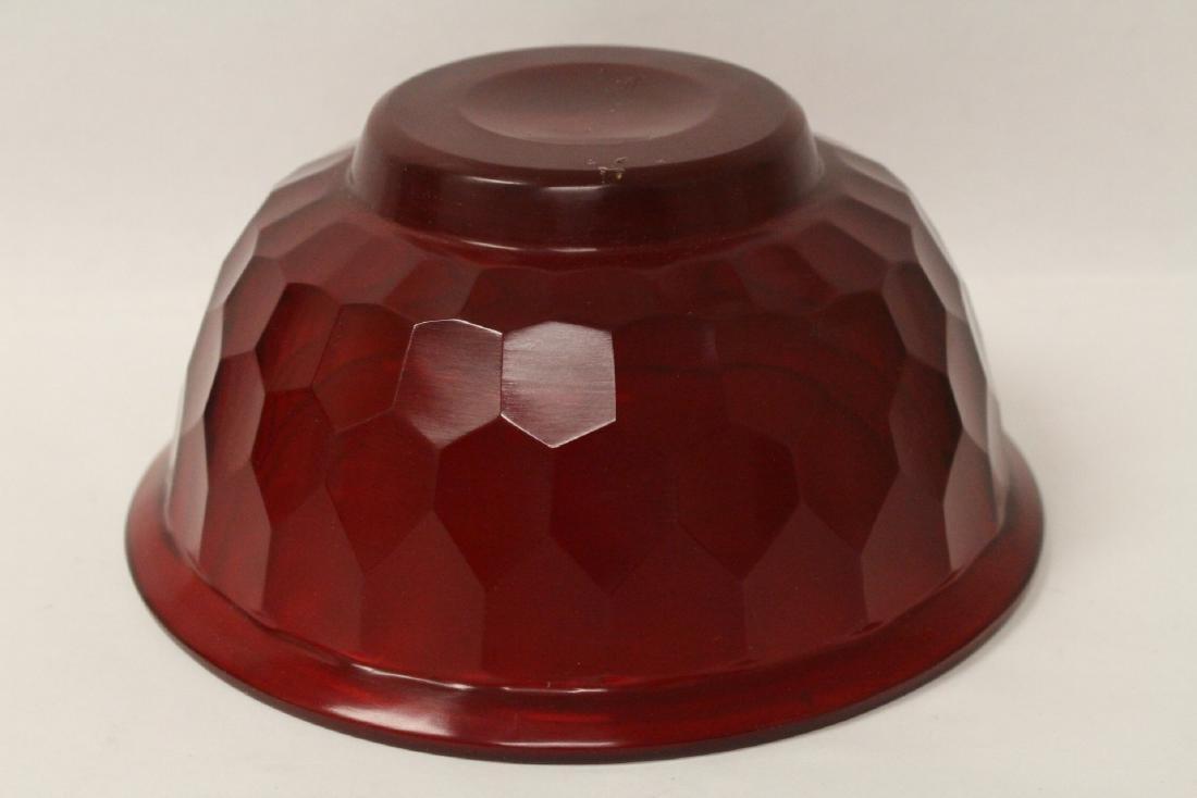 Chinese red Peking glass bowl - 7