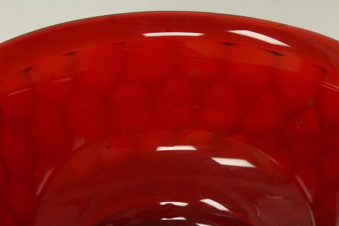 Chinese red Peking glass bowl - 8