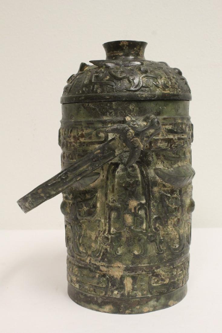 Chinese archaic style bronze handles hu - 2