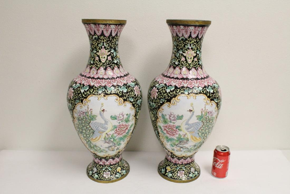 Pair large Chinese enamel on copper  vases