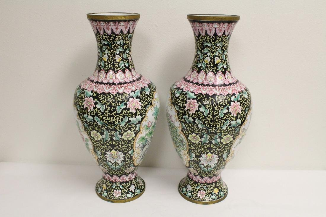 Pair large Chinese enamel on copper  vases - 2
