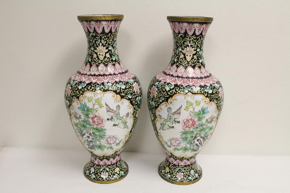Pair large Chinese enamel on copper  vases - 3