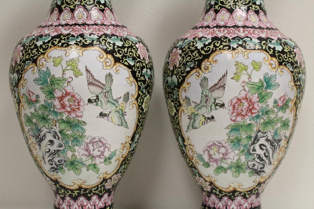 Pair large Chinese enamel on copper  vases - 4