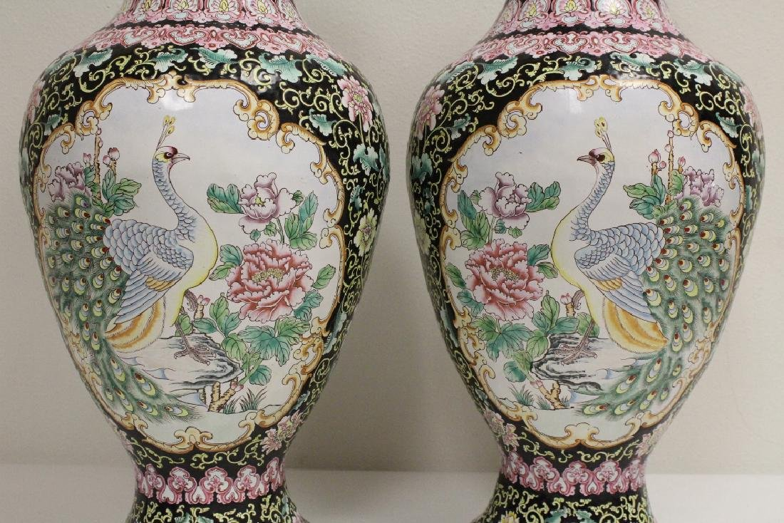 Pair large Chinese enamel on copper  vases - 5
