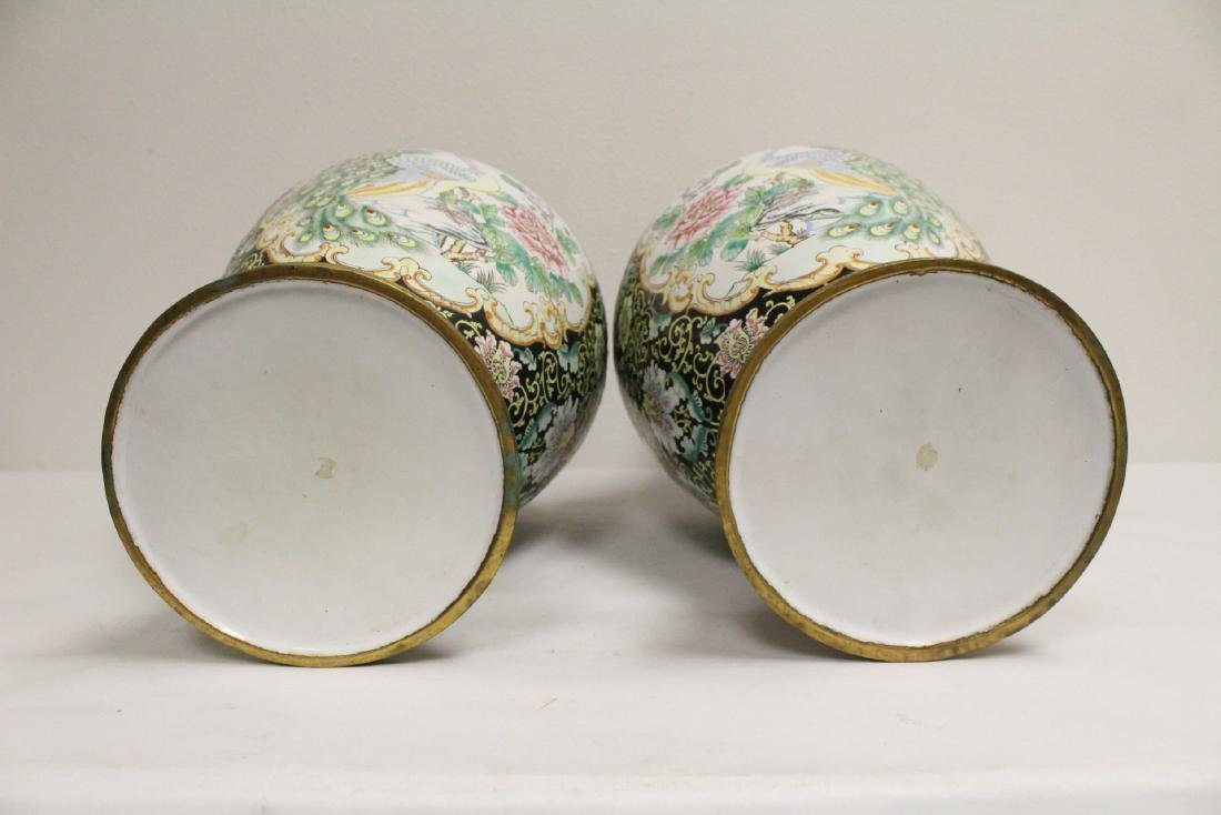 Pair large Chinese enamel on copper  vases - 6