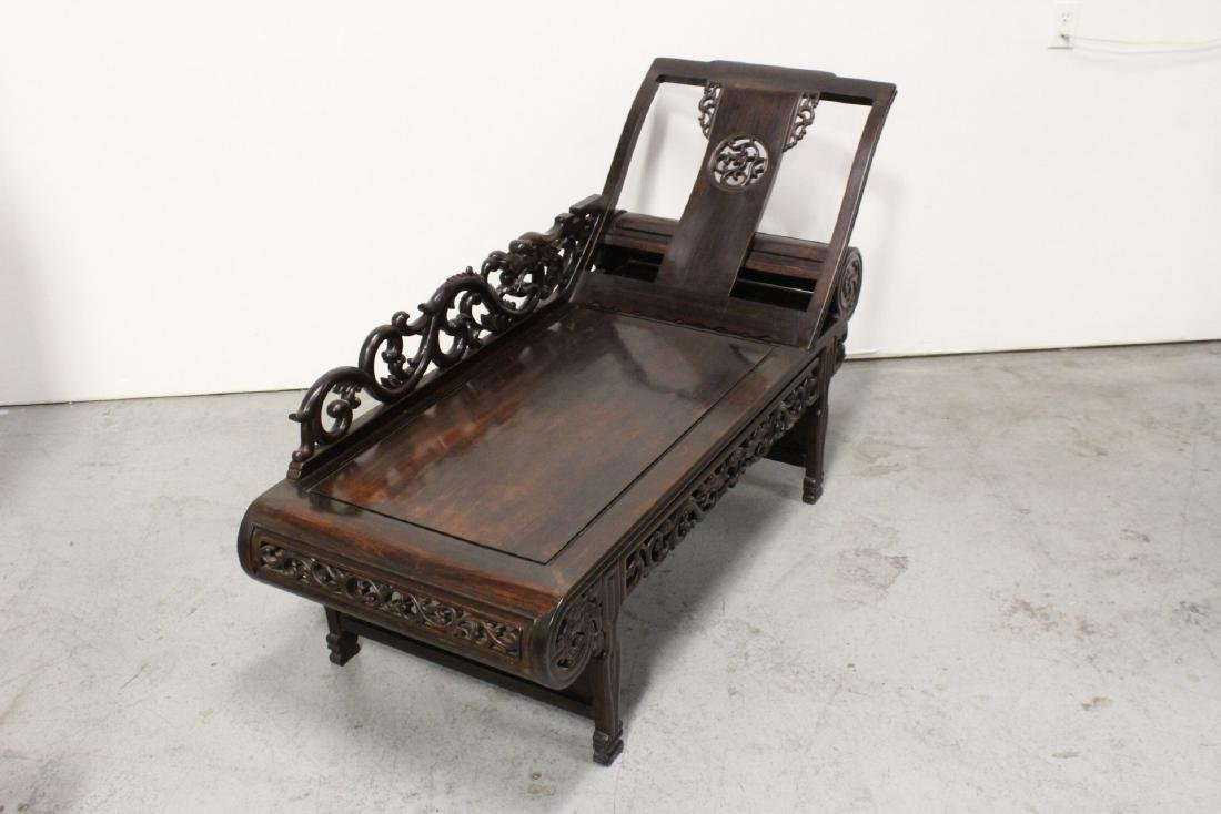 A fine Chinese vintage rosewood lounge chair - 5