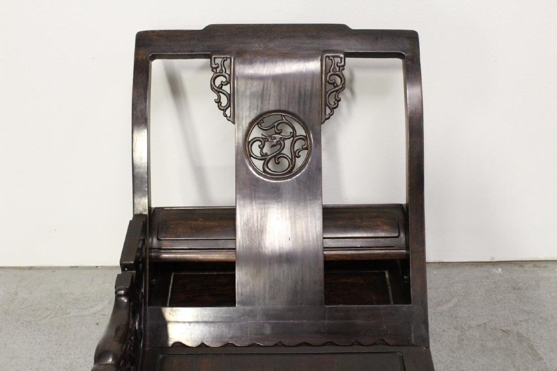 A fine Chinese vintage rosewood lounge chair - 7