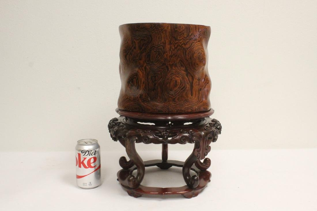 large rosewood brush holder w/ rosewood stand