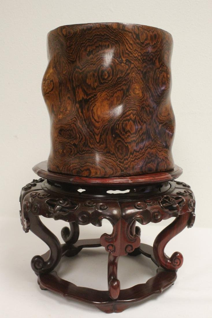 large rosewood brush holder w/ rosewood stand - 2