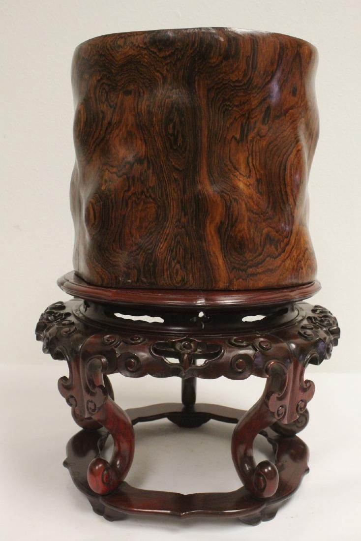 large rosewood brush holder w/ rosewood stand - 3