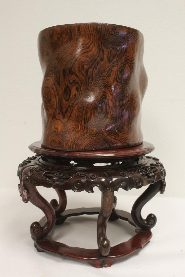 large rosewood brush holder w/ rosewood stand - 4