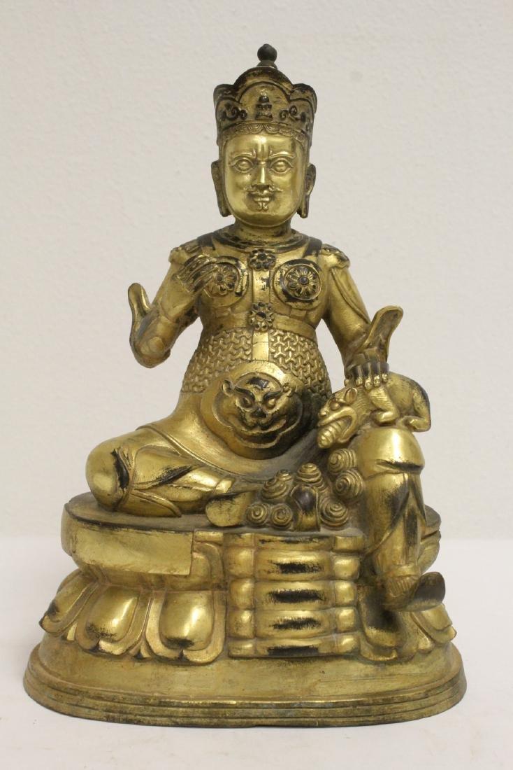 Chinese gilt bronze sculpture depicting deity