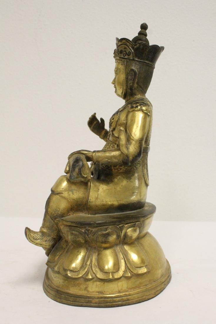 Chinese gilt bronze sculpture depicting deity - 3