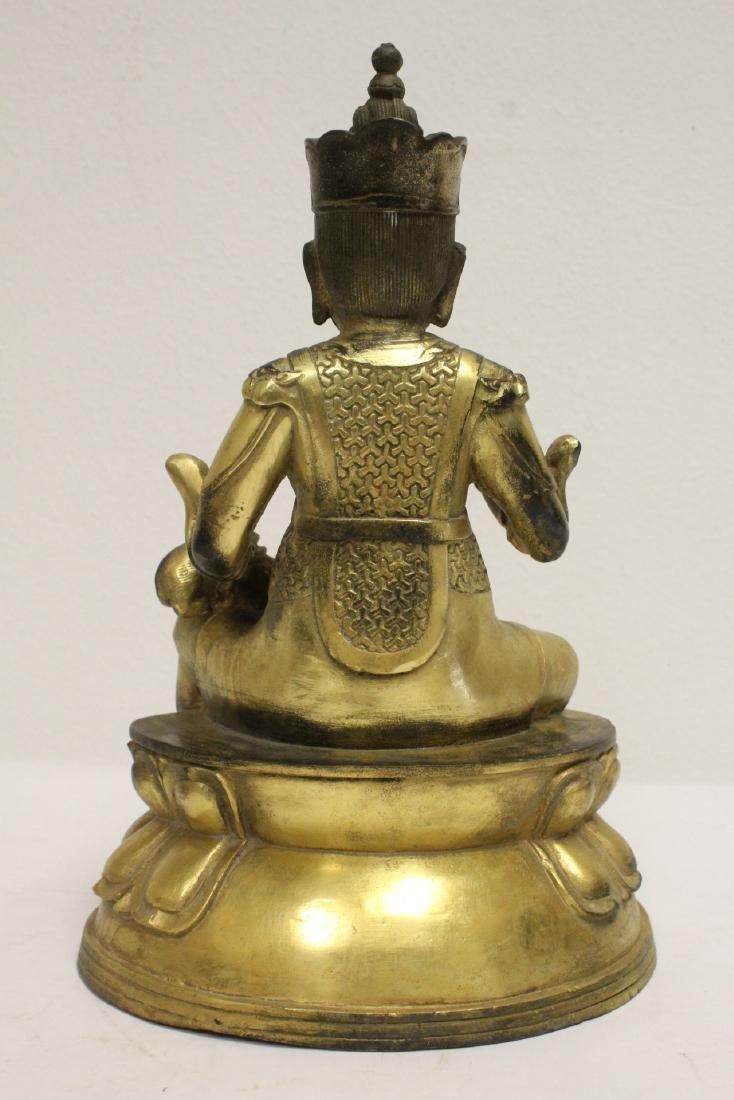 Chinese gilt bronze sculpture depicting deity - 4