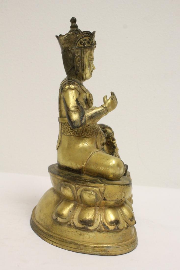 Chinese gilt bronze sculpture depicting deity - 5