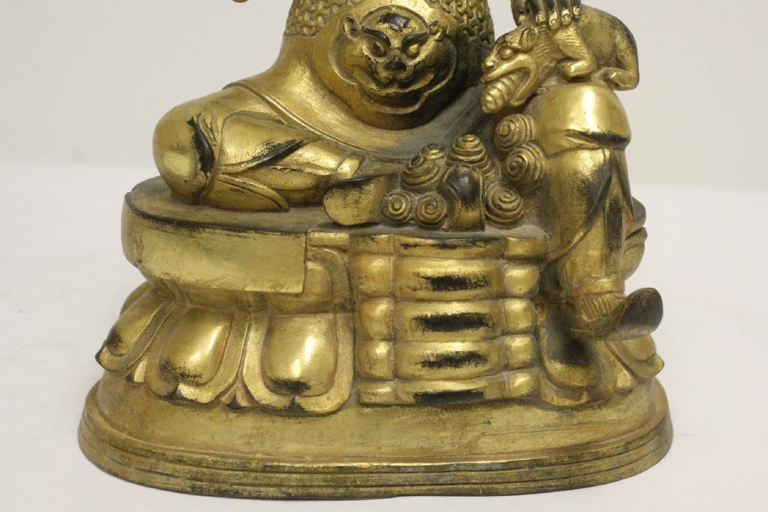 Chinese gilt bronze sculpture depicting deity - 8