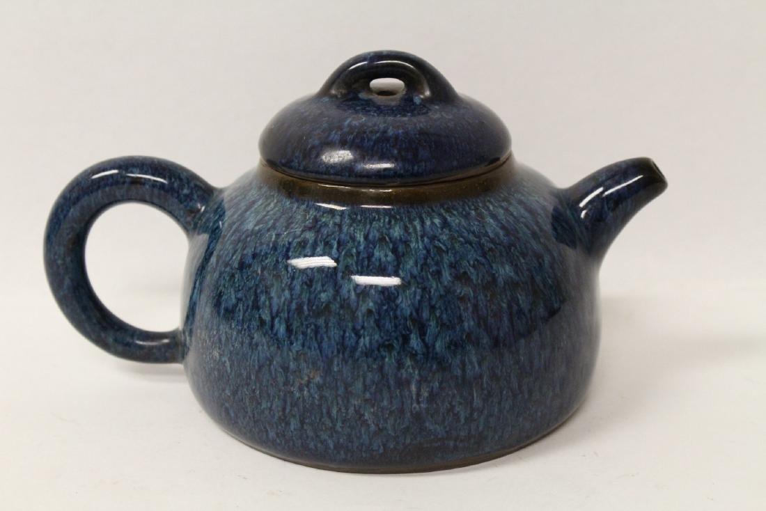 Chinese blue glazed Yixing teapot