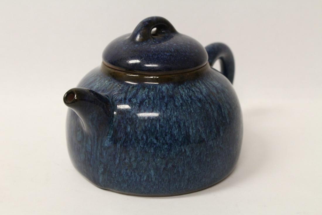 Chinese blue glazed Yixing teapot - 3