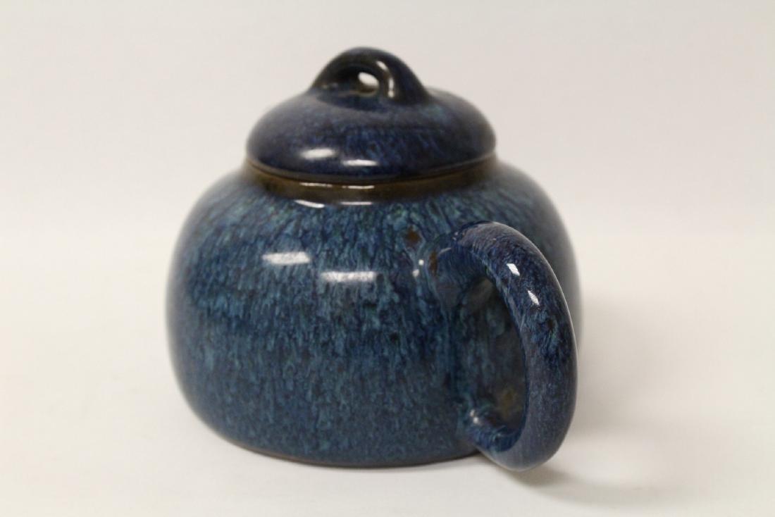 Chinese blue glazed Yixing teapot - 5