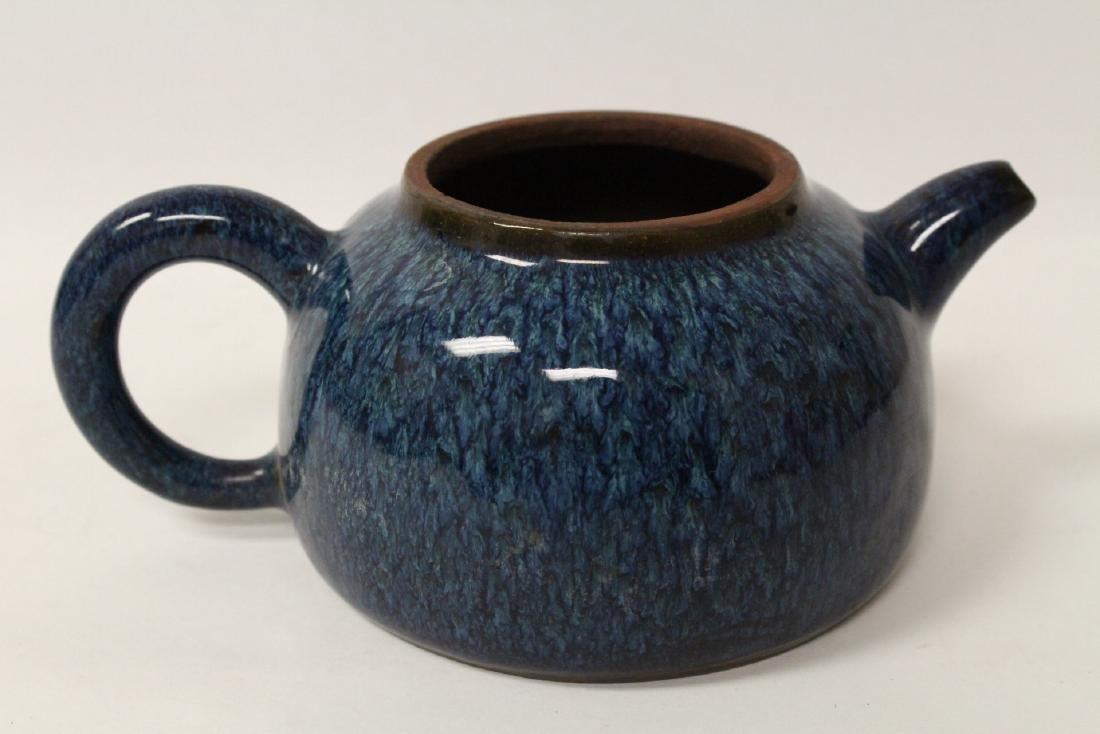 Chinese blue glazed Yixing teapot - 6