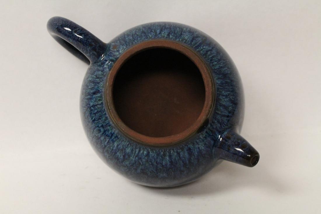 Chinese blue glazed Yixing teapot - 7