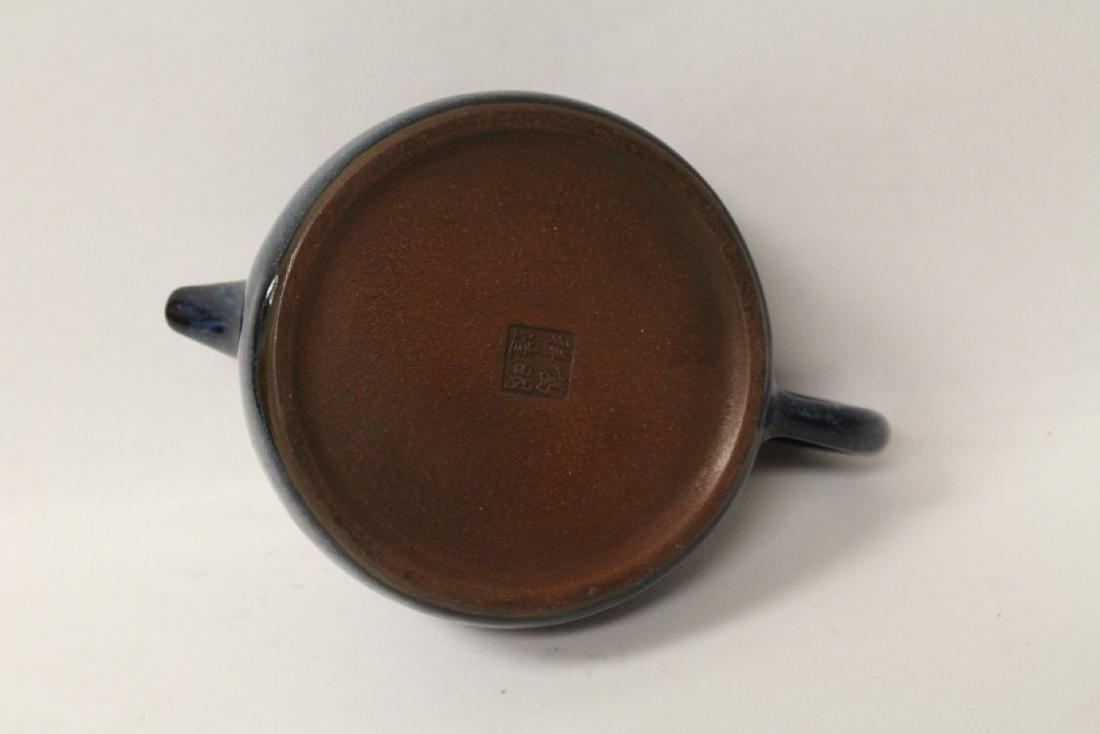 Chinese blue glazed Yixing teapot - 8