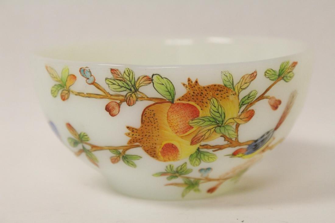 A fine Chinese enamel on Peking glass bowl - 5