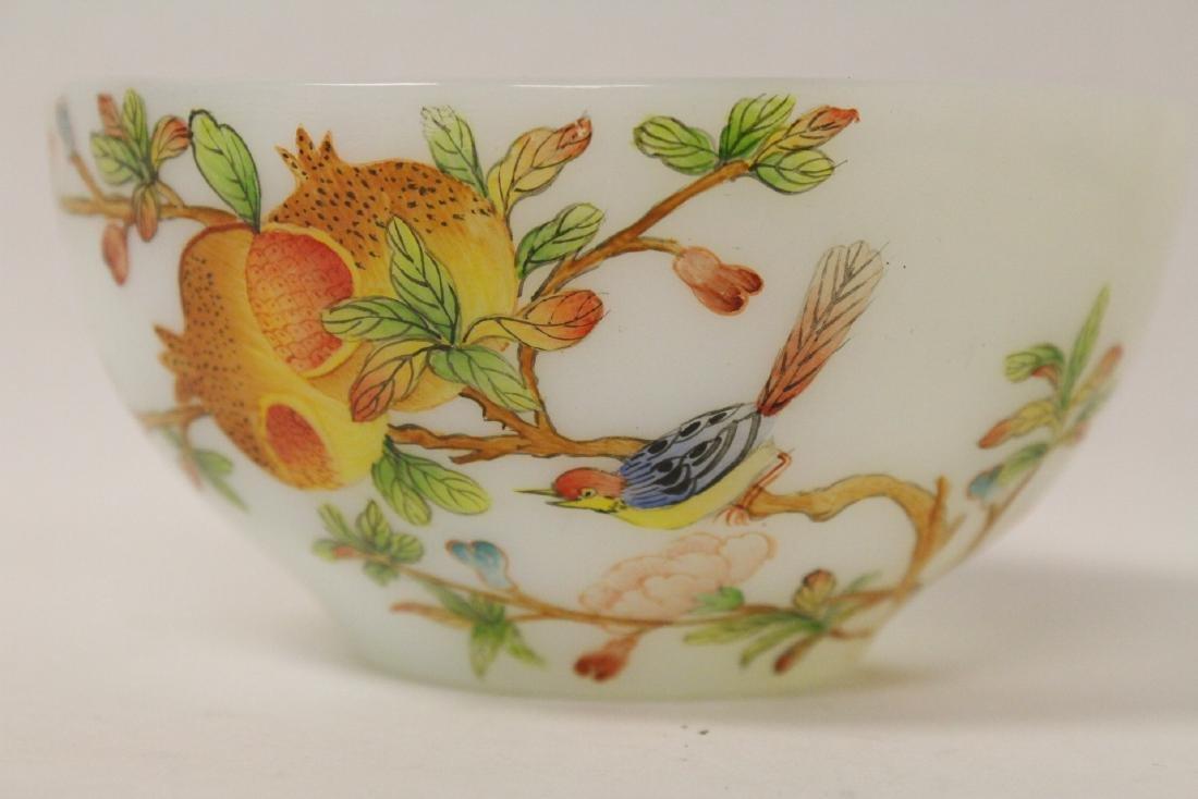 A fine Chinese enamel on Peking glass bowl - 6