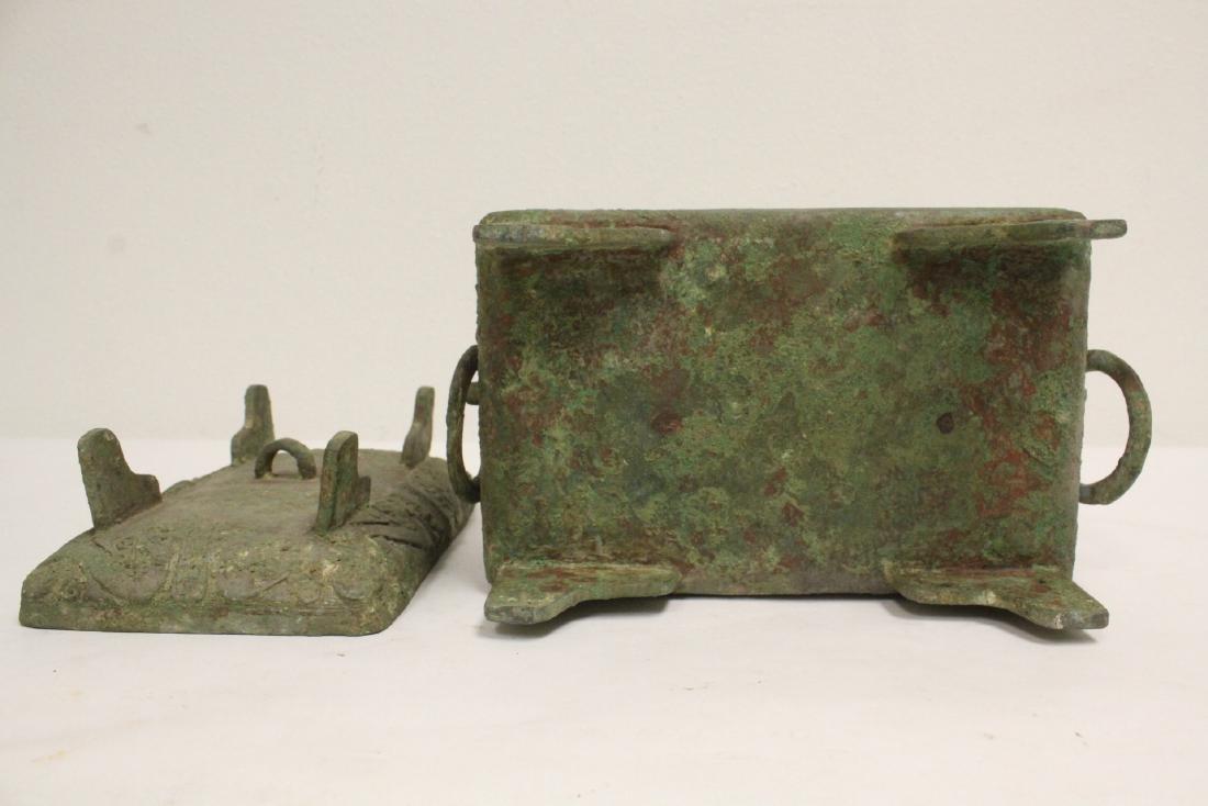 Chinese rectangular bronze covered vessel - 10