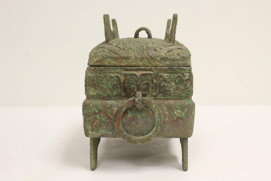 Chinese rectangular bronze covered vessel - 2
