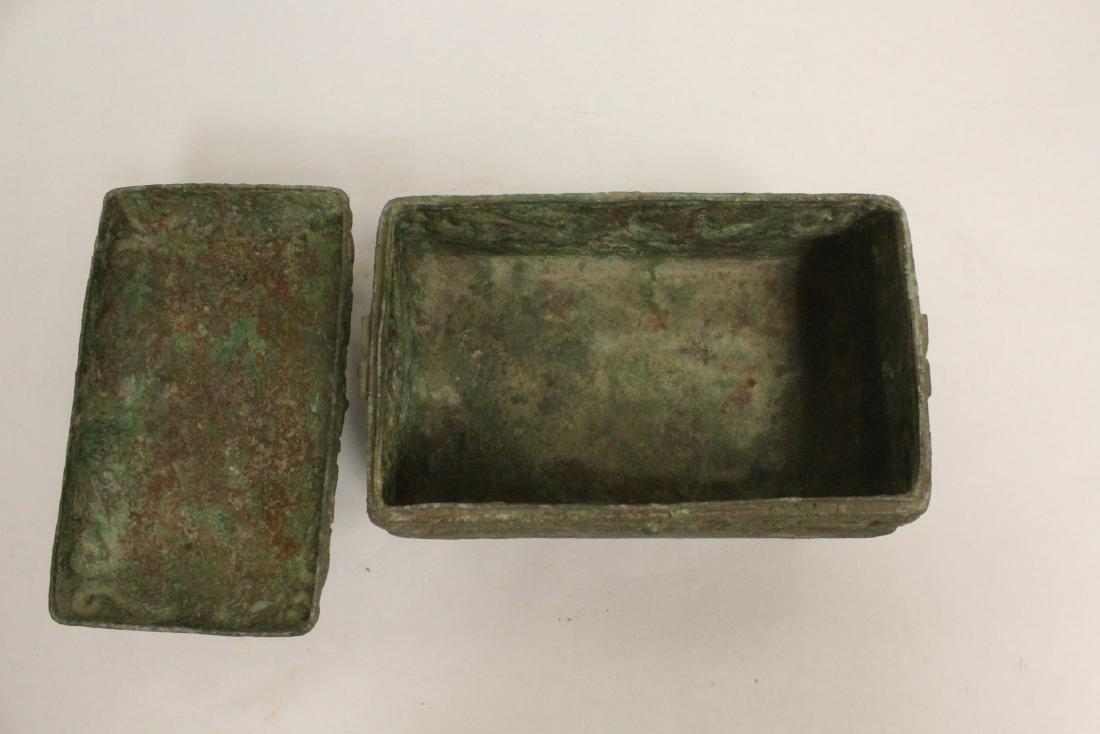 Chinese rectangular bronze covered vessel - 6