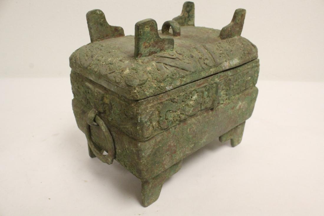 Chinese rectangular bronze covered vessel - 9