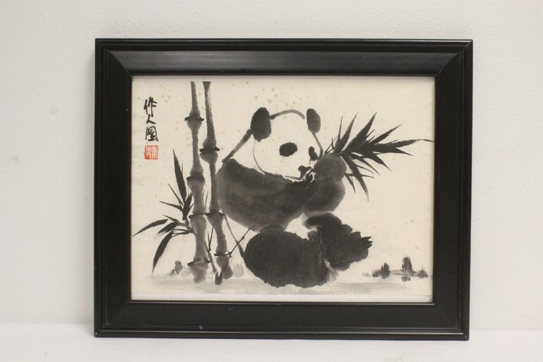 "Framed Chinese watercolor ""panda"""