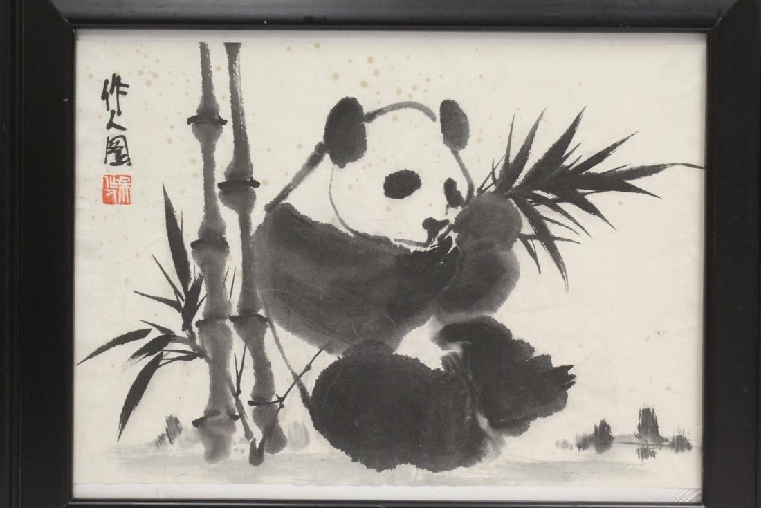 "Framed Chinese watercolor ""panda"" - 2"