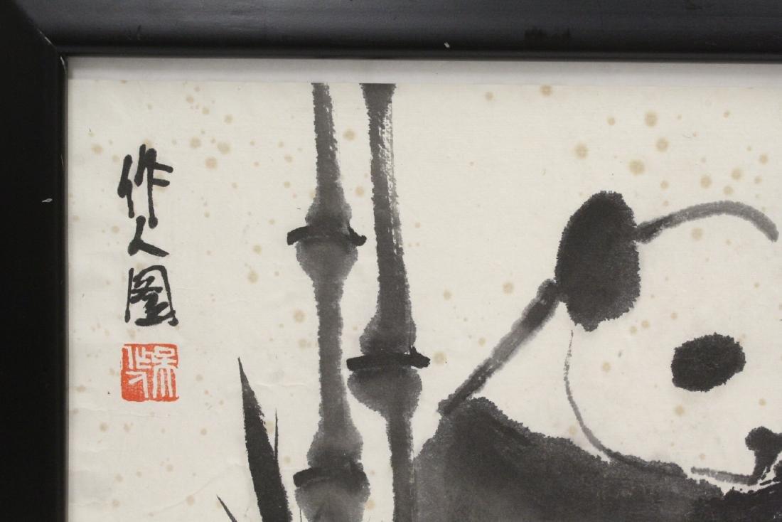 "Framed Chinese watercolor ""panda"" - 3"